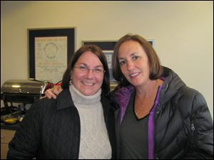 Margaret Foster and Toni Arman in one of the suites on opening day at Fifth Third Field