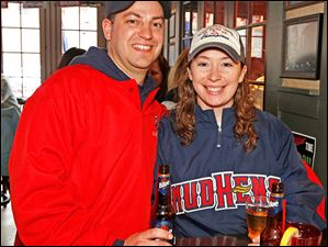 Brent and Shannon Draeger enjoy Toledo Mud Hens opening day festivities at Packos at the Park.