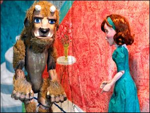 The Beast and the Beauty puppets in The Stevens Puppets' performance of