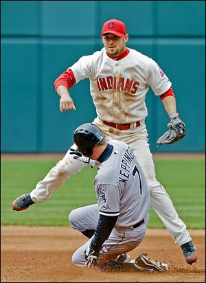 The Indians' Ryan Raburn avoids the White Sox's Jeff Keppinger after a throw to first to complete a double play on Alex Rios.