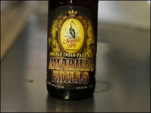 A bottle of Amarillo Brillo Double India Pale Ale, fresh  off the bottling line.