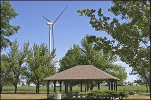 A rest stop on U.S. 30 is a good place for a look at the 305-megawatt Blue Creek Wind Farm near Antwerp.