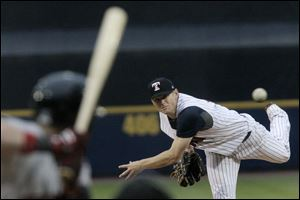 Mud Hens' Casey Crosby pitches during the top of the fifth inning in Tuesday evening's game against Indianapolis.