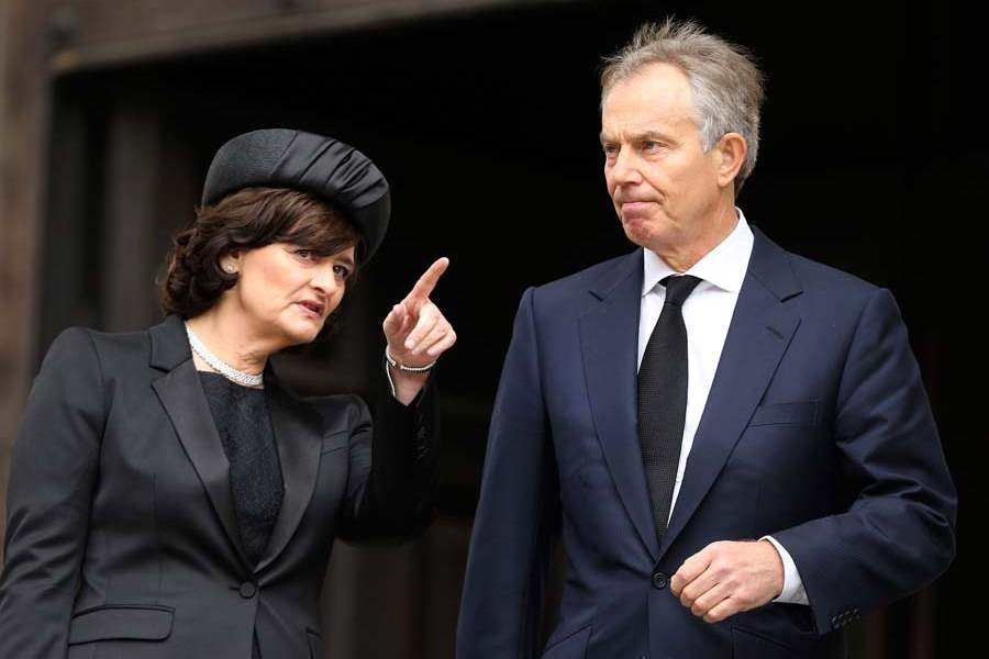 Britain-Thatcher-Funeral-blair-and-wife