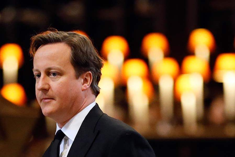 Britain-Thatcher-Funeral-cameron-leaves