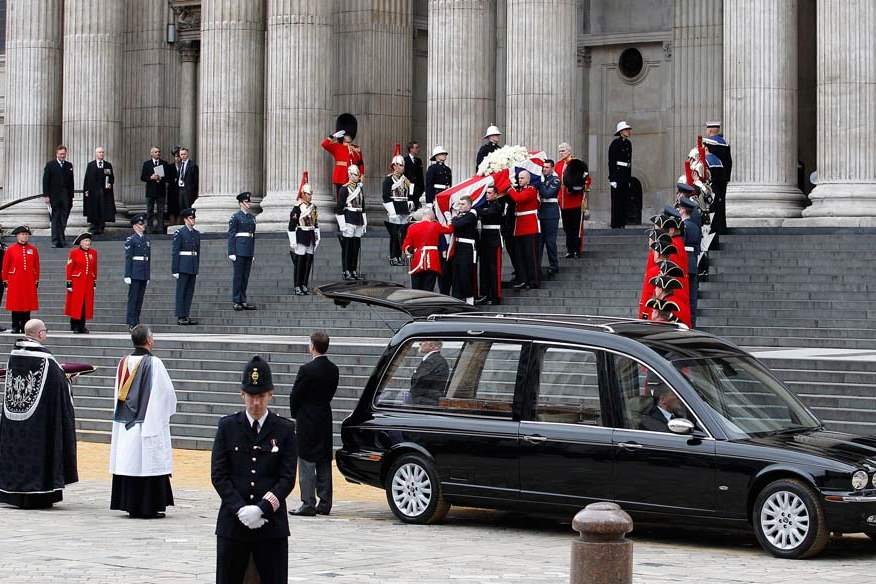 Britain-Thatcher-Funeral-down-steps