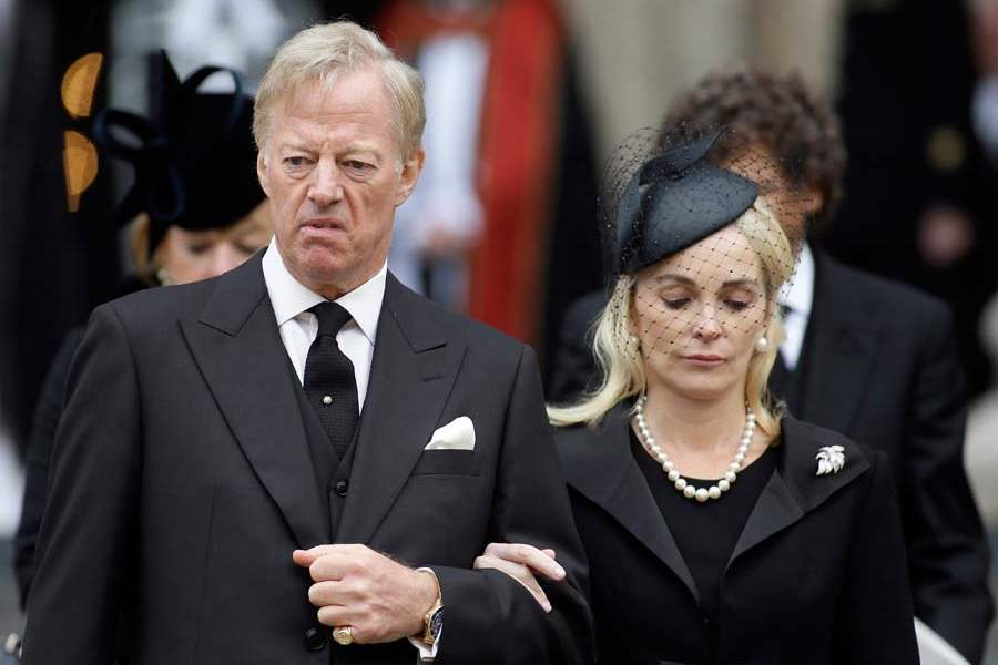 Britain-Thatcher-Funeral-mark-thatcher-and-wife-leave