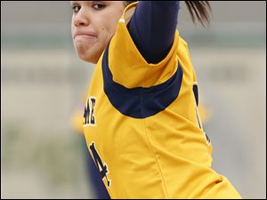 Notre Dame pitcher Cassie Gillespie gets ready to unload a throw.