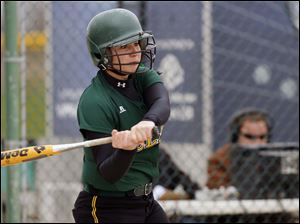 Oregon Clay's Jamie Miller hits a home run against Notre Dame during the third inning.