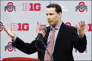 OSU women's basketball coach Kevin McGuff answers questions during a news conference on Wednesday.