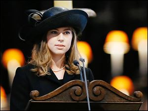 Amanda Thatcher, the American granddaughter of  Margaret Thatcher, delivers a reading during the funeral service in St. Paul's Cathedral in London.