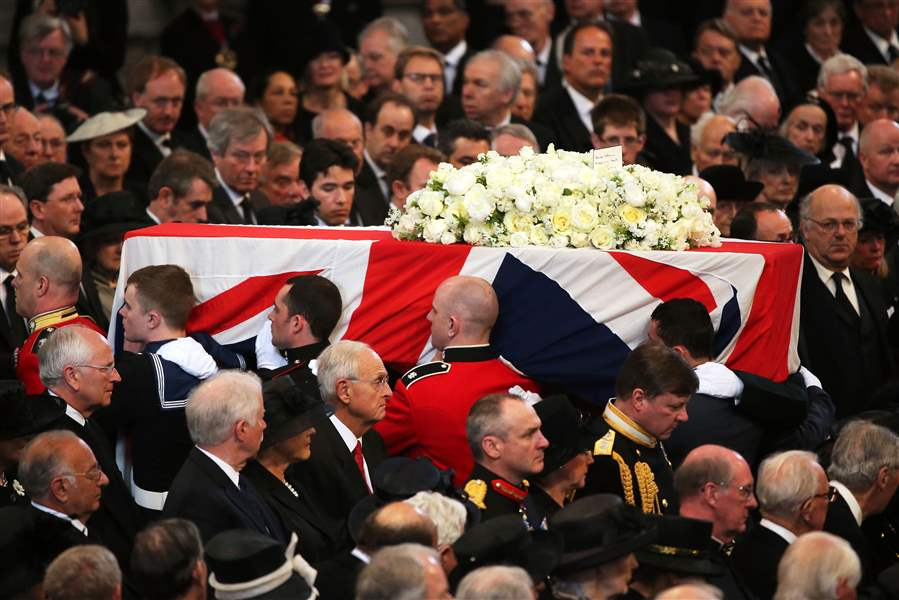Britain-Thatcher-Funeral-COFFIN-LEAVES