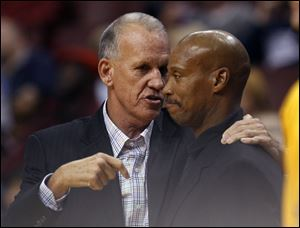 Philadelphia 76ers coach Doug Collins, left and Cleveland Cavaliers coach Byron Scott talk before the start of their NBA preseason basketball game in Philadelphia in late 2012. Both coaches were fired today.