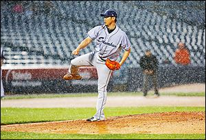 Columbus pitcher Daisuke Matsuzaka struggled with his command, walking eight Mud Hens batters.