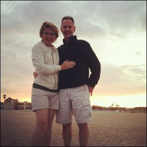 Taken by their daughter Alyssa Krause, pilot Jerry Krause, right, and wife Gina pose together for a photo on the beach in St. Augustine, Florida. Ten days ago Mr. Krause disappeared together with his plane just miles from a refueling stop at a West African island.