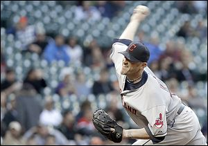The Indians' Brett Myers delivers a pitch against the Astros in the first inning in Houston. Myers gave up five hits and three earned runs in five innings of work. He walked two and struck out four.