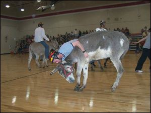 Pictured is a Circle A Donkey basketball game held at Big Sandy, TN in April, 2008 similar to the one taking place Tuesday night in Lake Schools.