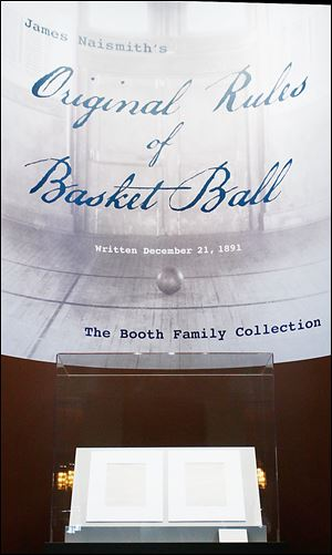 James Naismith's original rules of 'Basket Ball' is displayed at the Nelson-Atkins Museum of Art in Kansas City, Mo.