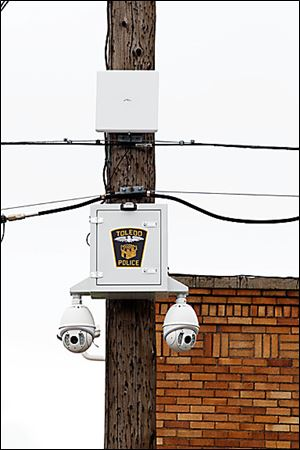 A police security camera similar to this one failed to record the vandalism at the Leverette school site.