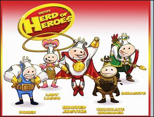 The Smith's Dairy's mobile application game features five superhero bovine characters that have special skills for fighting evil.