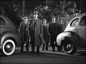 Left to right, Ryan Gosling as Sgt. Jerry Wooters, Josh Brolin as Sgt. John O'Mara, Michael Pena as Officer Navidad Ramirez, Robert Patrick as Officer Max Kennard, and Anthony Mackie as Officer Coleman Harris in 'Gangster Squad.'