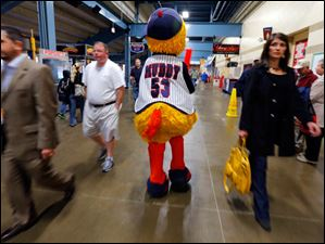 Muddy the Mud hen walks the concourse as the Toledo Mud Hens play the Columbus Clippers at Fifth Third Field.