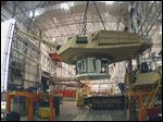 This undated  file photo shows the production of an Abrams tank in Lima, Ohio.