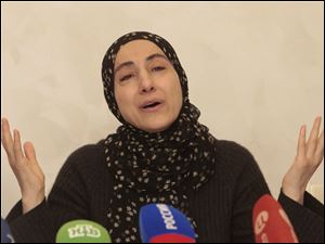 The mother of the two Boston bombing suspects, Zubeidat Tsarnaeva, speaks at a news conference in Makhachkala, the southern Russian province of Dagestan, Thursday.