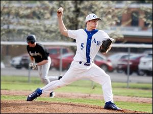 Anthony Wayne's Josh Schwerer pitches the ball against Perrysburg.