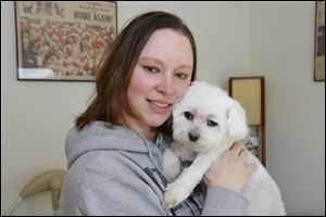Raynae Sicotte of Perrysburg holds 7-year-old Maltese Sugar Baby, who was diagnosed with immune-mediated hemolytic anemia.