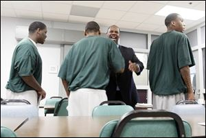 Willie Knighten, once the undisputed leader of the Southside Folk, greets inmates in the Lucas County Correctional Treatment Facility. Every Wednesday, Knighten visits the facility  to help felons live better, more productive lives upon release. He says much of the gang problem would be solved if fathers were active in their children's lives.