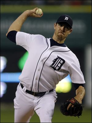 The Tigers' Doug Fister kept the Atlanta Braves off-kilter for most of the game, scattering six hits over seven innings, striking out eight.