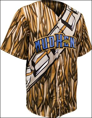 Jersey to be worn by Toledo Mud Hens this weekend, to look like a