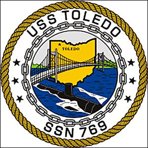 U.S. Navy submarine logo for the USS Toledo, SSN 769, nuclear submarine.