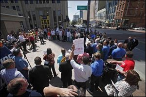 The AFL-CIO protests proposed Right to Work Legislation on Wednesday on the South East corner of the Statehouse in Columbus.