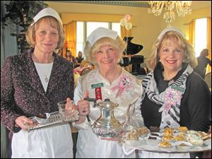 From left, Debbie Hennie, Judy Eagan, and Wanda Anderson at the Teas at Wildwood Preserve Metropark's Manor House.
