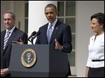 President Obama announces the nomination of Penny Pritzker, right, as Commerce Secretary and Michael Froman as U.S. Trade Representative, in Washington.