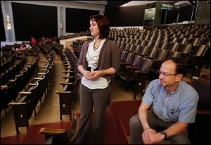 Jamie Sampson, left, theater manager, and Terry Glazer, United North executive director, watch the rehearsal.