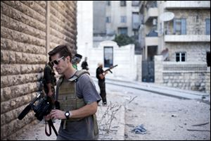 This photo posted on the website freejamesfoley.org shows journalist James Foley in Aleppo, Syria, in September, 2012. Foley is believed alive and in a Syrian detention center.