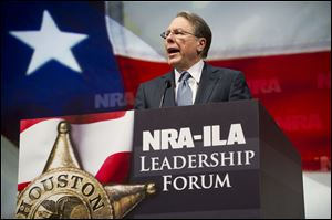 NRA Executive Vice President and Chief Executive Officer Wayne LaPierre speaks during the leadership forum at the National Rifle Association's annual meeting.