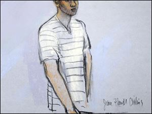 This courtroom sketch shows defendant Robel Phillipos appearing in front of a federal magistrate last week.