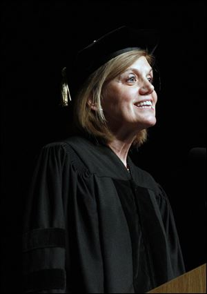 Sandra Pianalto,  president and chief executive officer of the Federal Reserve Bank of Cleveland, gives the morning commencement address at UT.