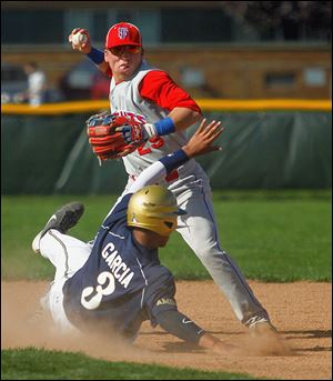 St. John's Devin Garcia is forced out at second as St. Francis shortstop Eric Zmuda throws to first.