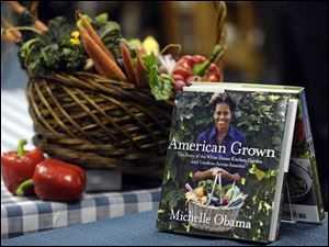 Copies of the book by first lady Michelle Obama's book.