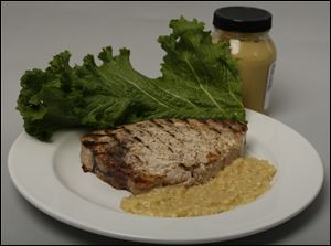 Grilled swordfish with mustard.