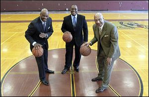 From left, Terry Crosby, Ken Cunningham, and Truman Claytor — all former City League basketball stars — have been busy organizing a cel­e­bra­tion of past play­ers and their as­so­ci­a­tions on the court. The reunion is scheduled for June 1 at SeaGate Convention Centre.