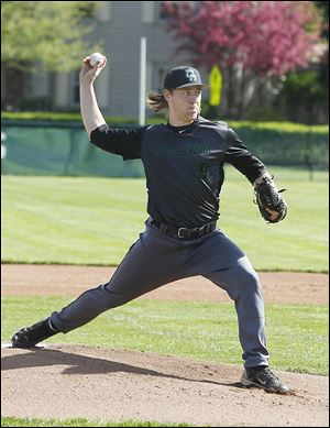 Ottawa Hills' Scott Tucker threw a complete game as the Green Bears beat Cardinal Stritch 5-2 in a Toledo Area Athletic Conference game.
