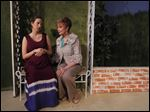 Marissa Rex as Floral, left, and Barbara Barkan as her mother, Kandall, rehearse a scene for the Village Players' production of 'Impossible Marriage.'