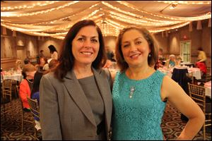 Mary Macino Giacci, left, with her sister Cassandra Macino celebrate at the anniversary party of the Cassandra School of Ballet.