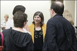 Pulitzer Prize winning columnist and author Anna Quindlen speaks at a reception before her talk as part of the Authors! Authors! series at t